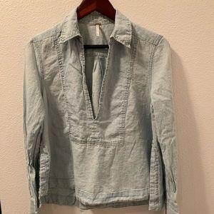 Free People Linen Chambray Shirt- Size S